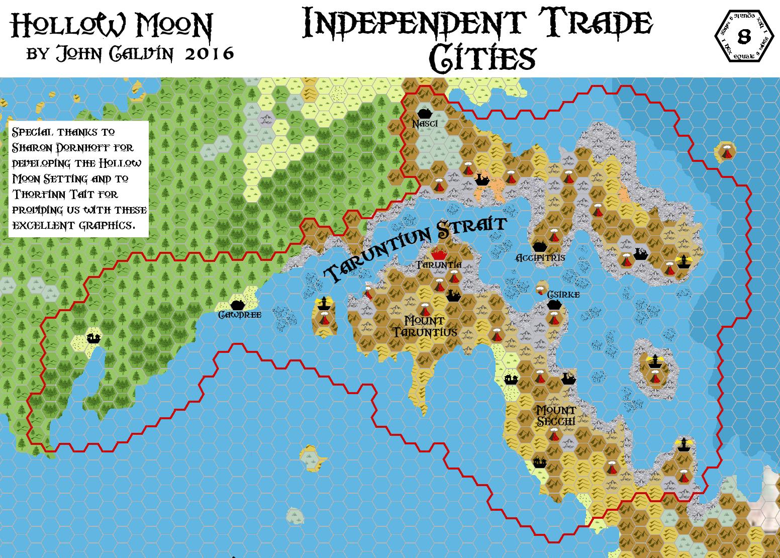 Independent Trade Cities, 8 miles per hex