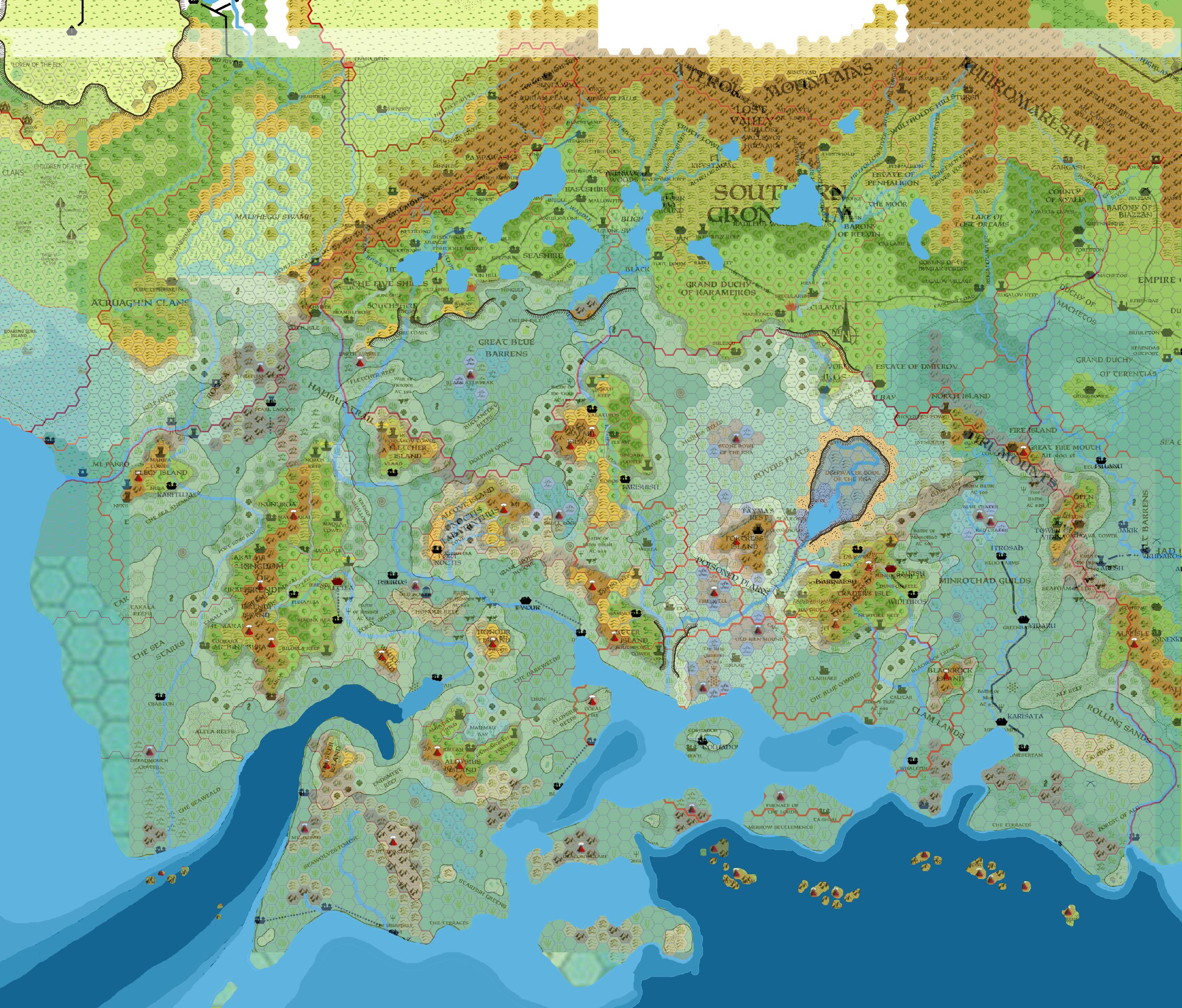 Map Of Taymora, 8 Miles Per Hex